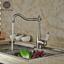 Матовый никель Керамические рычаг длинным краном Кухонная мойка кран Палуба Гора Ванная Кухня смесителя
