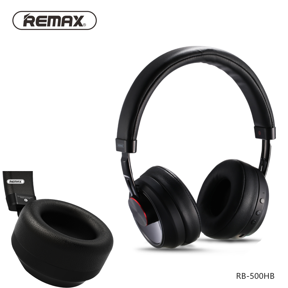 REMAX 500HB Bluetooth V4.1 Headset Leather Ear Pad Remote Headphone Powerful 3D Sound Bass with 3.5mm jack microphone cable each g1100 shake e sports gaming mic led light headset headphone casque with 7 1 heavy bass surround sound for pc gamer