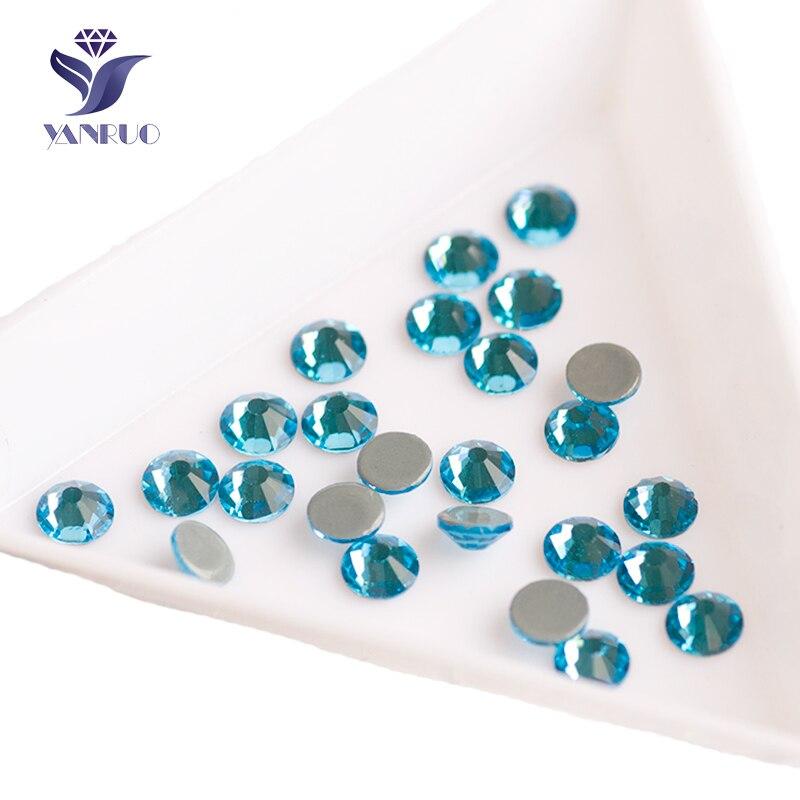 YANRUO 2058HF Aquamarine Flatback Rhinestones Hot Fix Crystal Iron On Wedding Dresses Rhinestone Appliques Clothing
