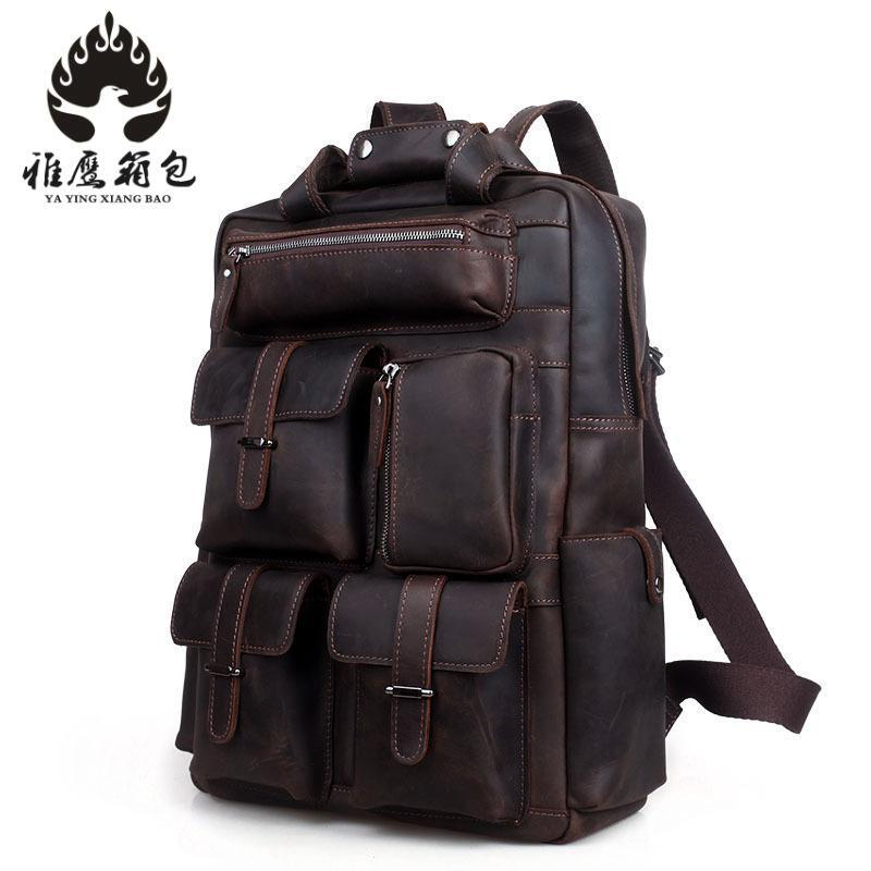 Crazy Horse Cowhide Men Backpack Genuine Leather Vintage Daypack Travel Casual School Book Bags Brand Male Laptop Bags Rucksack hot sale women s backpack the oil wax of cowhide leather backpack women casual gentlewoman small bags genuine leather school bag