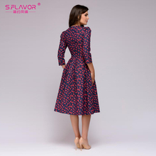 S.FLAVOR Women Elegent A-line Dress 2018 Vintage printing party vestidos Three Quarter Sleeve women Autumn Dress(No Pockets)