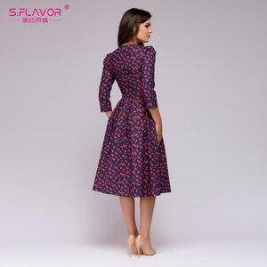 Image 4 - Sabor feminino elegante a linha vestido midi impressão vintage vestidos de festa três quartos manga feminina 2020 outono inverno vestido
