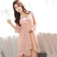 Two Set Pink/Light Orange New Summer Lady Sexy Lace Flowers Net Yarn Lingerie Deep V Erotic Temptation Sleepwear Slips M XL