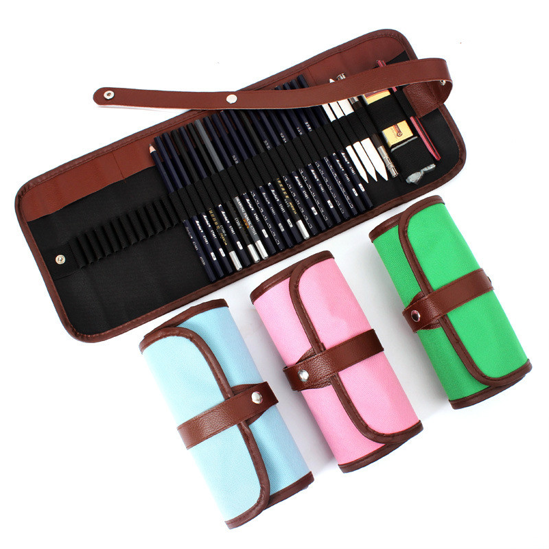 Korean Roll UP 36 Hole Colored Pencil Case Canvas Artist Sketch Painting Stationery Store Pen Bag Pouch School Holder Art Supply