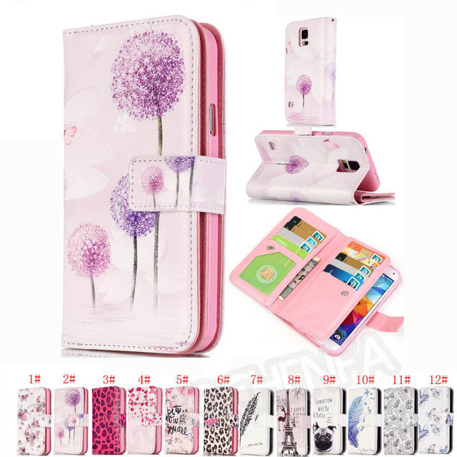 Premium Magnetic Wallet Stand Flip Leather Cover Printed Case And 9 Card For Samsung Galaxy S5 i9600 G900 S5 Neo SM-G903F