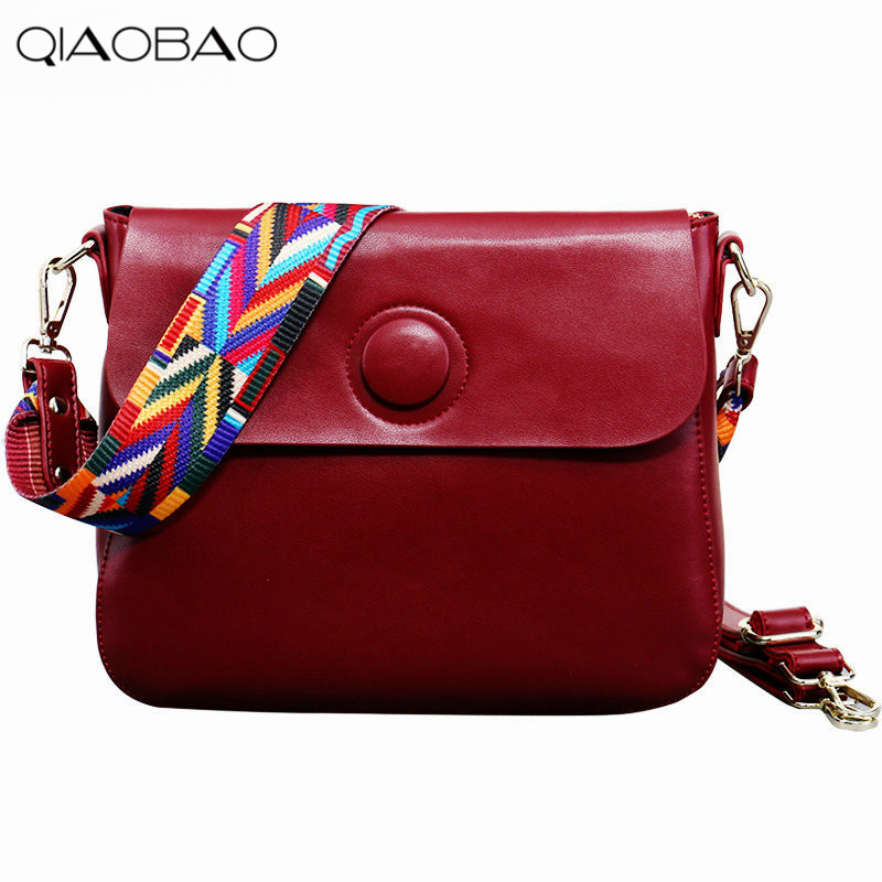 QIAOBAO Spring and summer Cowhide leather handbags trendy fashion ribbon shoulder Messenger Bag Korean leather small square bag qiaobao spring new first layer of leather shoulder messenger female bag korean fashion trend envelope bag