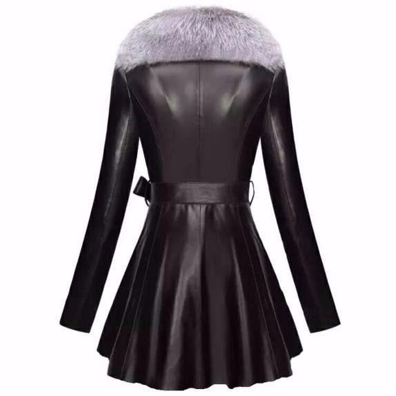Femme Manteau noir Moyen Rouge Renard Imitation Fourrure Longueur En Fausse De Col xCwOC7qZE
