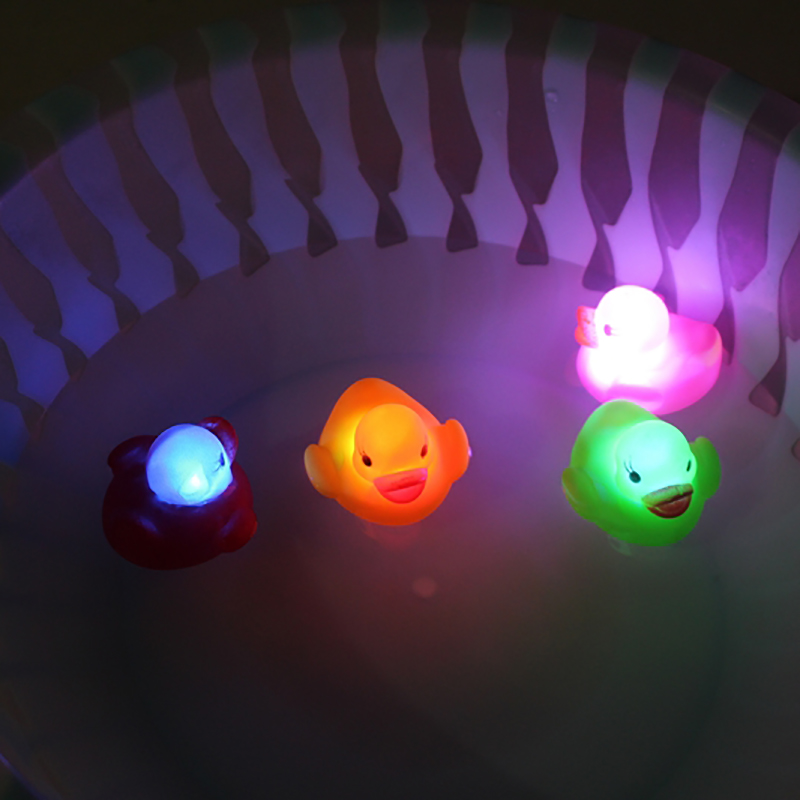 4Pcs/lot LED Rubber Duck Toys Baby Shower Bathe Room Water Toys Multi Color LED Light Lamp Bath Rubber DucksToys For Children