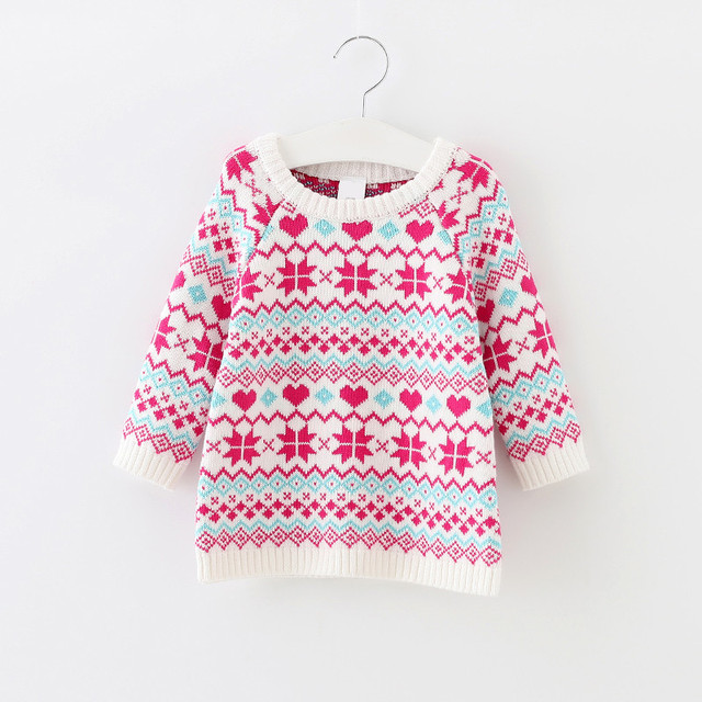 61a690e75 Baby Girls Sweaters Christmas Cardigan Autumn Girl Kids Snow Pattern ...