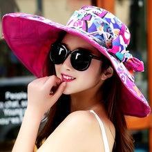 Sombreros de verano para las mujeres Sol sombrero sombreros de las mujeres  de moda belleza flores impreso señoras BRIM sombreros. 90c4002b2a8