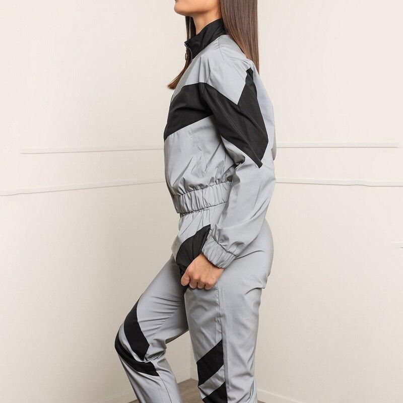Women Tracksuits 2 Piece Set Reflective Crop Top Pants Fashion 2019 Ladies Loose Zipper  Jacket Coat Trouser Suit Plus Size