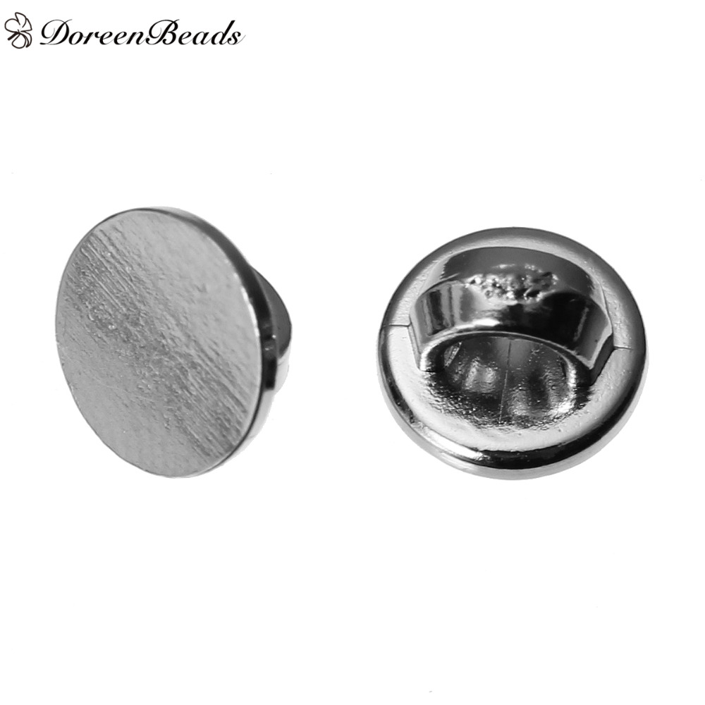 DoreenBeads Plastic Sewing Shank Buttons Round Silver Tone 6mm( 2/8) Dia, 25 PCs