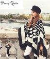 2016 Invierno mujeres Bufanda sombrero Hebilla de gran potencia larga de Cachemir engrosada cálido chales mujeres Fringe Mujeres Poncho poncho Chal