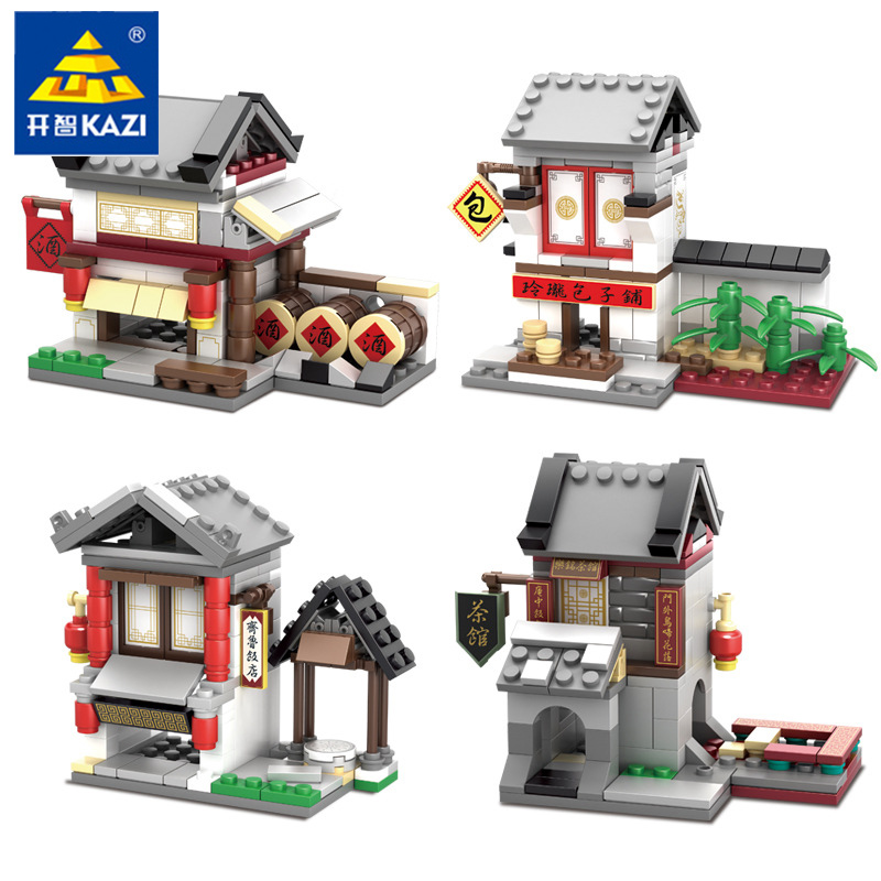 KAZI 5005 4 kinds/set Chinese culture Mini Street View China Street Ancient Architecture Model 2 in 1 kids Building Blocks Toys loz mini diamond block world famous architecture financial center swfc shangha china city nanoblock model brick educational toys