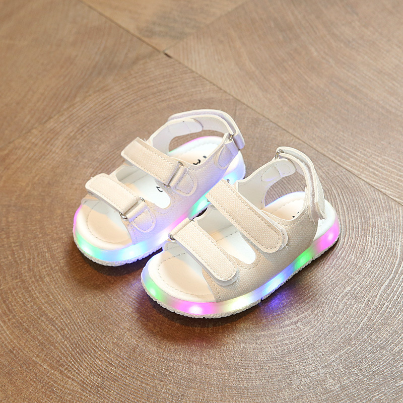 Children LED Sandals Baby Boy Girl Summer Casual Shoes Kids Fashion Hook & Loop Rubber Pu Leather Colorful Beach Antiskid Sandal