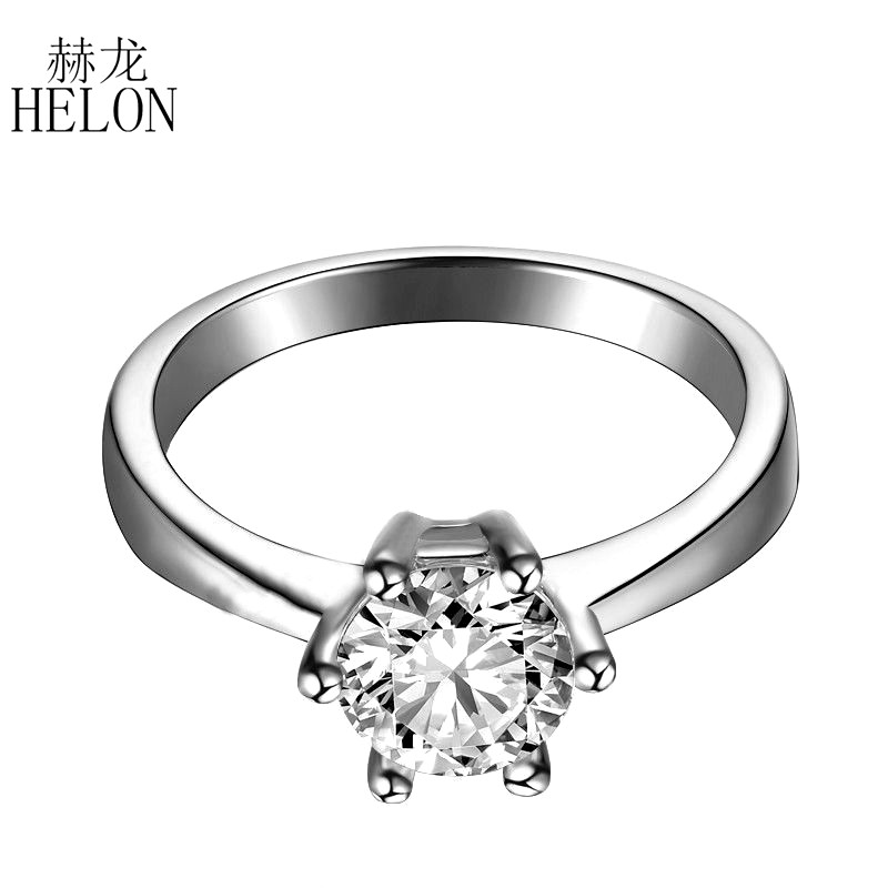 HELON Solid 14k White 0.5ct Round Lab Grown Diamond Engagement Wedding Ring Test Positive Moissanites Ladies Ring Fine Jewelry aeaw lab grown diamond moissanites engagement bangle solid 10k white gold bracelets for women wedding fine jewelry