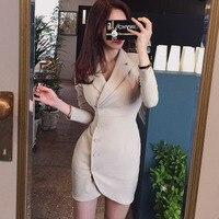 OL Style Single Breasted Women Blazer Dress Notched Collar Full Sleeve Suit Dress 2018 Autumn Bodycon Vestidos femme