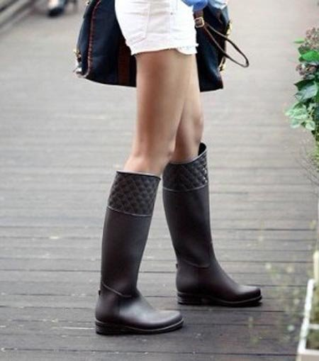 c0a4a75ee Fashion Women Plaid Rain Boots Waterproof Riding Boots Plus Size Free  Shipping