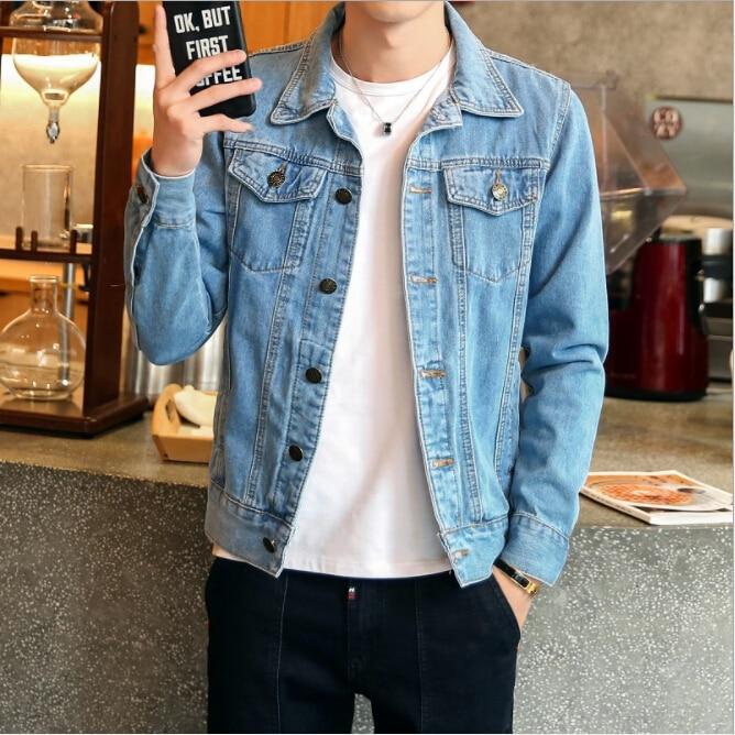 2018 Spring autumn Wild male Denim Jacket Couple Motorcycle fashion coat streetwear Trend Youth Student Men Korean Slim clothing