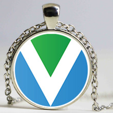 "International VEGAN ""V"" Flag / Banner pendant necklace"