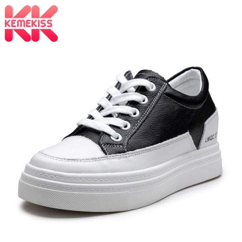 KemeKiss العلامة التجارية جلد طبيعي النساء أحذية مفلكنة أحذية رياضية عالية الجودة اليومية الترفيه في الهواء الطلق الشقق أحذية النساء حجم 34 39-في أحذية مطاطية نسائية من أحذية على  مجموعة 1