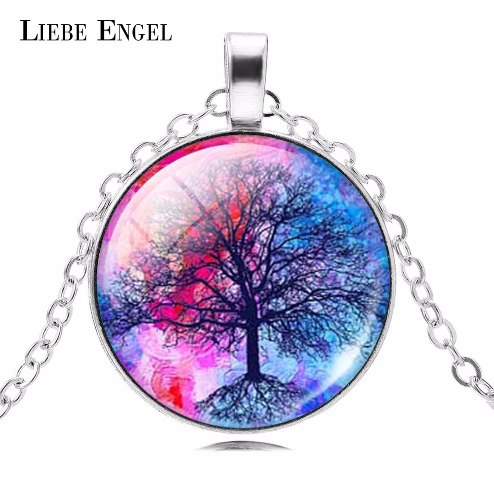 LIEBE ENGEL Fashion Life Tree Hängsmycke Halsband Vintage Silver Color Chain Halsband i Smycken Classic Glass Cabochon Halsband