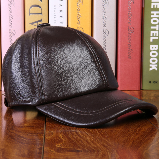 Men's 100% Genuine Leather Baseball Cap Golf Hats Adult Sheepskin Leather Winter Warm Men Outdoor Sports Hat B-0608