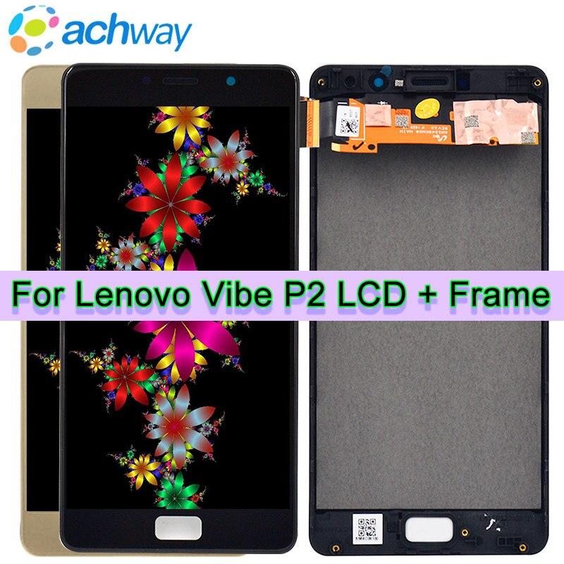 ECRAN LCD d'origine Pour 5.5 Lenovo Vibe P2 Assemblée de convertisseur analogique-Numérique D'écran tactile D'affichage D'affichage à cristaux liquides Avec L'armature Pour Lenovo P2 P2c72 p2a42 LCD