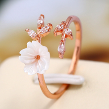 Korean Luxury Delicate Zircon Crystal Leaf Shell Flower Ring for Women Ladies Girls Rose Gold Color Finger Rings Wedding Jewelry