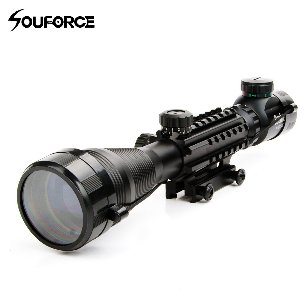 4-12X50EG Tactical Optical Riflescope 4 Reticle Sight Red and Green Illuminated with 20mm Rails Mount for Hunting Air Gun Scope