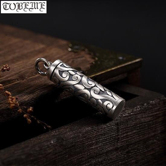 100% 999 Zilveren Gau Box Hanger Vintage Puur Zilver Tibetaanse Doos Hanger Geluk Symbool Boeddhistische Gebed Box Hanger