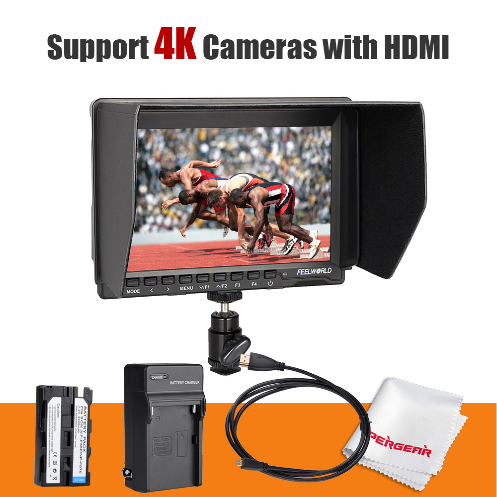 Feelworld FW-74K 7 Inch HD IPS 1280x800 Field DSLR Monitor HDMI + Battery + Charger for Panasonic GH4 SONY A7S SONY FS7 4K UHD aputure digital 7inch lcd field video monitor v screen vs 1 finehd field monitor accepts hdmi av for dslr