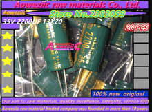 Aoweziic 20 יחידות 35 V 2200 UF 13*20 התנגדות נמוכה בתדירות גבוהה אלקטרוליטי קבלים 2200 UF 35 V 13X20