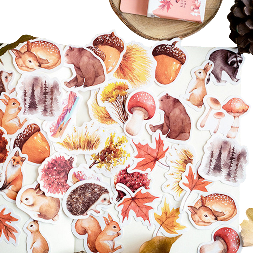 46pcs/pack Lovely Autumn Forest Animal Paper Adhesive Decorative Scrapbooking Sticker Children Dairy Sticker Stationery