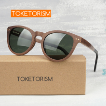 Toketorism Handmade real walnut wood sunglasses polarized lenses women mens sun glasses 0606