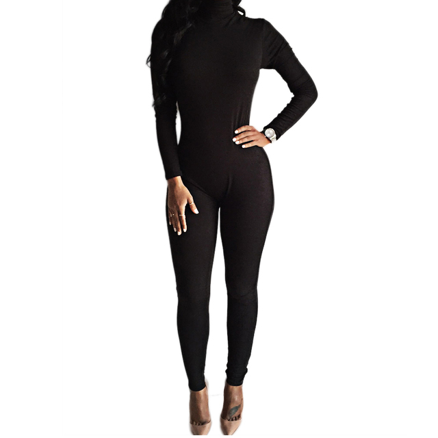 73d2f2be0d 2018 New Arrival Sexy Black Bodysuit Bodycon Rompers Womens Jumpsuit Slim  Long Sleeve One Piece Playsuit