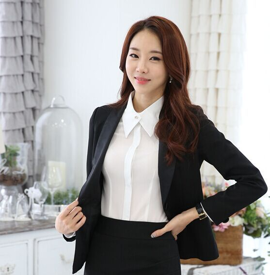 2016 New Winter elegant work wear women's black suits set plus size office ladies slim formal long sleeve blazer suit trousers