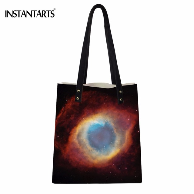 9e375c1a53 INSTANTARTS Galaxy Nebula Print Women PU Leather Tote Bags Fashion Teenager  Girls School Bags Casual