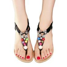 Naivety 2016 Summer New Sweet Bohemia Beaded Sandals Fashion Lady Clip Toe Sandal Beach Shoes JUN17U drop shipping