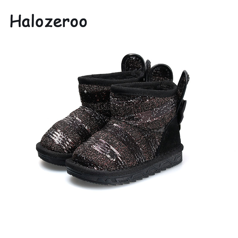 Halozeroo Winter Baby Girl Sequin Snow Boots Children Pu Leather Warm Shoes Kid Bunny Brand Boots Boy Black Fashion Soft ShoesHalozeroo Winter Baby Girl Sequin Snow Boots Children Pu Leather Warm Shoes Kid Bunny Brand Boots Boy Black Fashion Soft Shoes