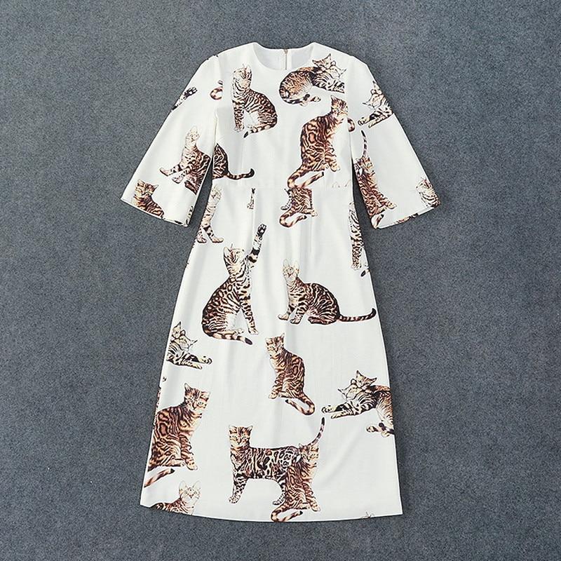 Autumn European Fashion Designer Show 2016 Cute CATBrand Clothing Linen Dresses Vestidos Women Dress