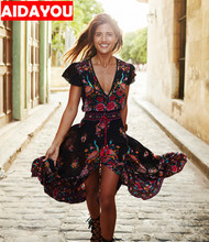 Fashion vintage Sexy floral Dress Women Casual Short Sleeve Long Sashes  with sashes V neck dresses AIDAYOU ouc623