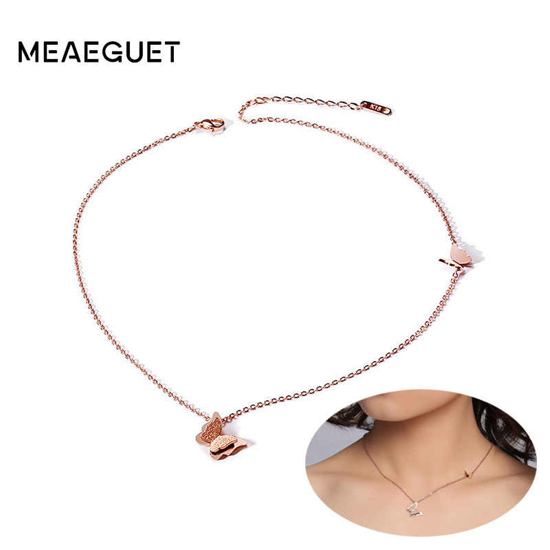 Rose Gold Butterfly Pendant Statement Choker Charm Chains 316L Stainless Steel Collier Necklaces For Women