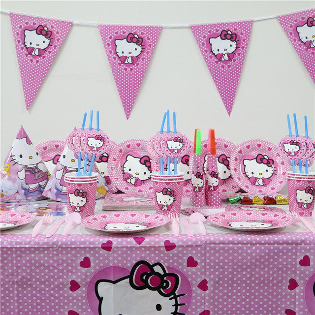 HOT 1Pack 114pcs Kids Birthday Party Decoration Set First Hello Kitty Theme Supplies Baby For 12 People Use