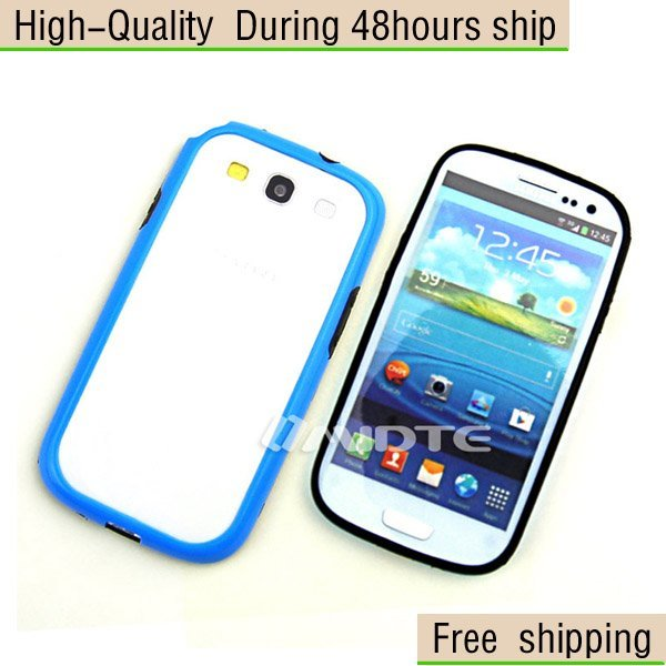 New Silicone TPU Soft Bumper Frame Case Cover For Samsung Galaxy S3 III i9300 Free Shipping UPS DHL EMS HKPAM CPAM JD-96