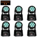 6 pçs/lote free grátis 4em1 rgbw 7 pcs 10 w led moving head luz, luz de discoteca dj party pub bar ktv 7*10 w led moving head wash luz