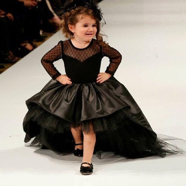 417d95403bf1 Black Satin Flower Girl Dresses Tulle Ball Gown O Neck Long Sleeves High Low  Ruffles Floor Length Kids Wedding Party Dresses