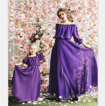 Mother Daughter Family Matching Outfits Off Shoulder Solid Dress Summer Chiffon Girl Women Boho Loose Dresses Sundress Clothes