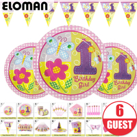 1st birthday party theme sets for girl princess birthday party set suppliues cups plates knife forks girt bag cards for 6 guest