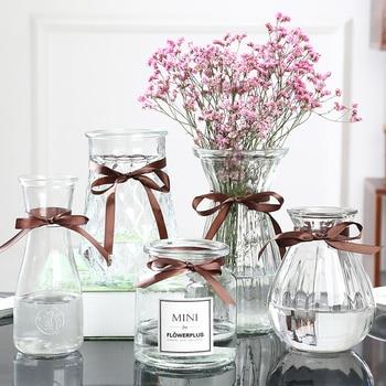 Diamond Transparent Glass Vase With Lace For Home Living Room Hydroponic Flower Arrangement Glass Flower Pot Dry Flower Bottle Leather Bag